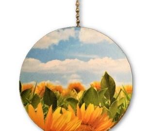Sunflower Fields Round Wood Fan / Light Pull