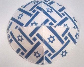 Israeli Flag Saucer Kippah Yarmulke Weave Pattern Star of David