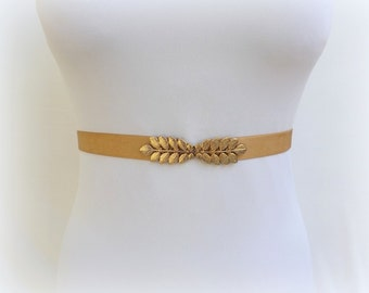 Gold leaf belt. Elastic waist belt. Dress belt. Stretch belt. Grecian belt. Wedding belt. Bridal belt. Greek belt. Bridesmaids belt.