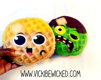 Cute, Kawaii Breakfast Waffle, Zombie Waffle, Pillow, Toys