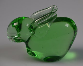 """eb3121 Bunny Rabbit Solid Glass Figurine Green Crystal Paperweight 3"""" x 2.25"""""""