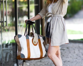 Weekender Bag, Travel Bag, Shoulder Bag, Sailcloth Bag, Big Bag, Shopping Bag, Diaper Bag, Women Big Bag, Beige Bag, Hobo Bag, Art Bag