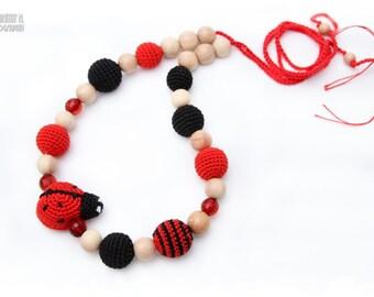 Nursing Juniper necklace / Breastfeeding Teething necklace, Teething amigurumi toy Ladybug
