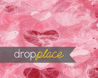 Printed Pink and Red Hearts Photography backdrop  Background Photo Booth Printed vinyl or Fabric (Multiple Sizes Available)