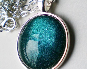 Dark Teal Holographic Nail Polish Necklace Jewelry ILNP Fall Semester Holographic Nail Polish Jewelry
