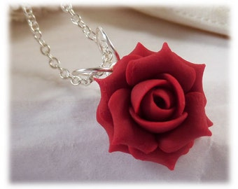 Red rose necklace Etsy