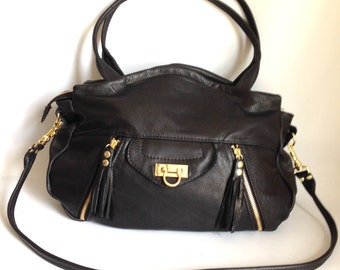 Large Lynx leather bag in black