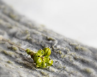 Green brooch | Mossy green glass beads and handmade felt pin | Forest woodland inspired gift under 25 USD