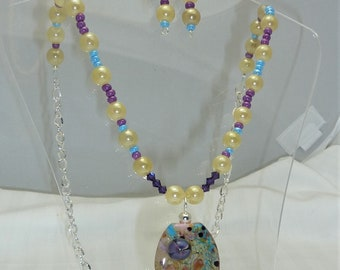 Spring has sprung!  Purples, Pinks and Blues Necklace Set