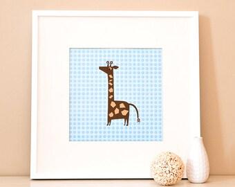 Modern Children's Paper Wall Art - Giraffe Standing Tall – 12 x 12 – Blue and Brown