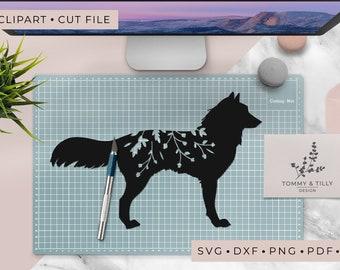 Wolf Silhouette - Clipart & Cut File - Hand Papercutting - Cricut / Silhouette - SVG DXF PNG Pdf Jpg - Kids Children Nursery