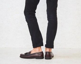 Vintage Burgundy Leather Loafers Deck Shoes