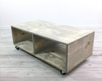 low coffee table. Low Coffee Table, TV Stand, Casters, Rustic Mid Century Modern Table