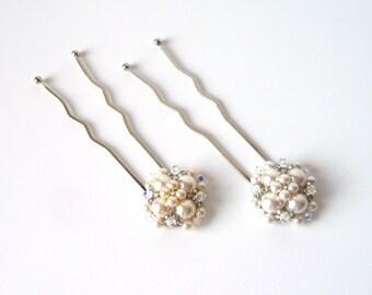 Hair Pins White or Cream Ivory Pearl and Crystal, SET OF 2, Decorative Beaded Woven Hair Pins Picks Bobby Pins, Couture Bridal Hair Pins
