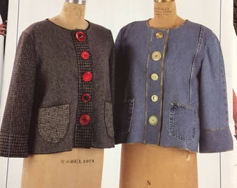 Misses' Placket  Jacket Sewing Pattern Indygo Junction IJ782  Bust 30-48 inches Complete Uncut FF