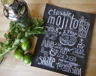 Typography Print - Mojito Recipe - Cocktail Recipe - Kitchen Art - Chalkboard Art - Hand Lettering
