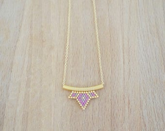 Small Lotus pink woven gold fine gold beads necklace