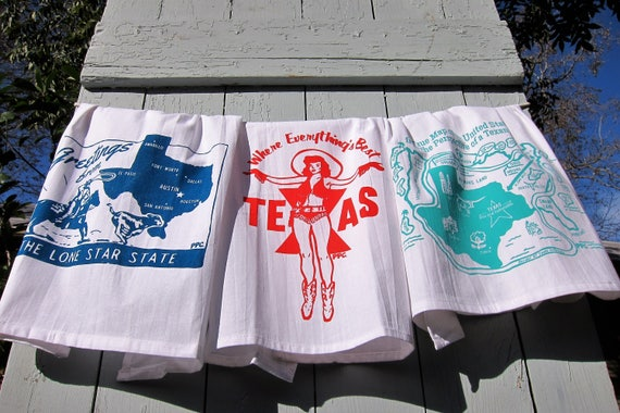 "Retro Inspired Texas Tea Towels, Gift Set of Three, 30"" x 30"""