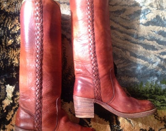 Vintage Womens Frye Boots Knee High Oxblood Braided Leather size 6
