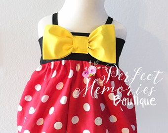Minnie Mouse Romper | Bubble Romper | Baby Minnie Mouse | Disney Vacation | Classic Minnie Mouse | First Birthday | First Disney Trip