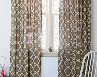 "Taupe Window Curtains SAMPLE SALE geometric moroccan tile modern brown panels shades drapes Lattice Ogee, shabby chic 44"" x 84""- Chain Link"