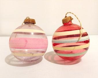 WW2 Era Paper Capped Shiny Brite Ornaments - Pink Stripe - Vintage Christmas Ornaments