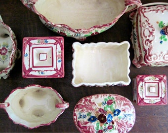 Vintage Dresser Set, Hand Painted Ceramics, Vintage Pottery, Retro Pottery, Pottery Boxes, Japanese Pottery, Ceramic Storage, Marsala