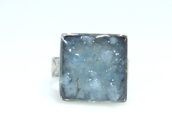 Ring, Crushed Aquamarine Genuine Gemstone in Resin, Square .925 Sterling Silver Adjustable Ring Band | MAE jewelry