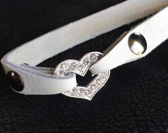 Must have genuine leather heart rhinestone daily wear collar
