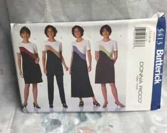 Butterick 5413 Donna Ricco Dress Tunic Skirt Pants Uncut sewing pattern Size 12 14 16