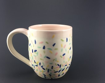 Pottery mug white with sprinkles