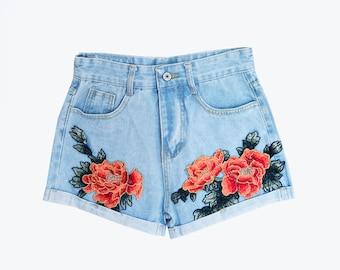 Floral Denim High Waisted Shorts - SIZE 4