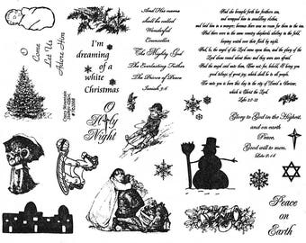 "CHRISTMAS rubber stamp sheet, 8 1/2"" x 11"" Santa, tree, Victorian children, snowman, bells, star, bible verses, holiday, Crazy Mountain No.7"