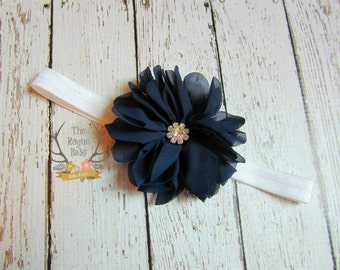 White & Navy Blue Headband -  Rhinestone Center - Newborn Infant Baby Toddler Girls Adult Wedding