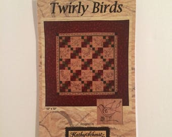 Twirly Birds Embroidered Quilt Pattern for 30 x 30 Wall Hanging Kathy Schmitz