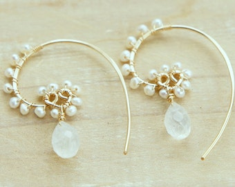 Moonstone Pearl Gold Heart Earrings, White Wedding Jewelry, June Birthstone, Drop Earrings