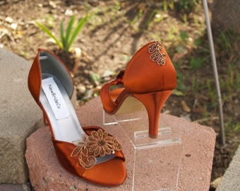 Copper Wedding shoes, Bridal,Mother of the,Bridesmaids,Open Toes Mid Heels Satin Pumps, Closed Ankle D'Orsay,Prom, Pageant, Formal Wear