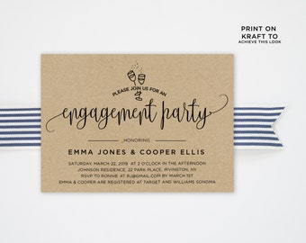 Engagement Party Invitation Template | Editable Invitation Printable | Engagement Party Invite Kraft | No. PW 5340