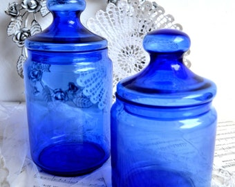 Pair of French Blue Glass Canisters Bottles Apothecary Jars Pharmacy Storage