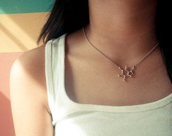 Caffeine Molecule Sterling Silver Necklace