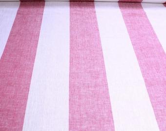 Fabric pure linen block stripes ecru yarrow pink light transparency