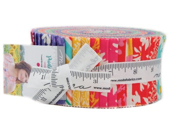 Painted Garden Jelly Roll by Crystal Manning for Moda Fabrics, 40 pieces 2.5 inch fabric strips--colorful bright--11810JR Moda Precuts