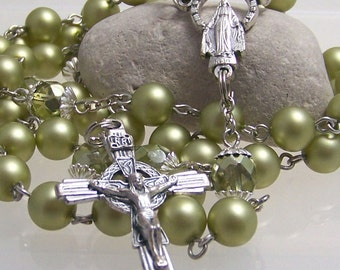 Pearl Catholic rosary handmade olive green matte glass pearl in silver