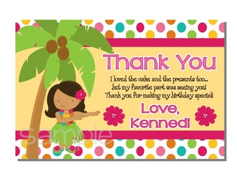 Luau Thank You Card Birthday Party - DIGITAL or PRINTED