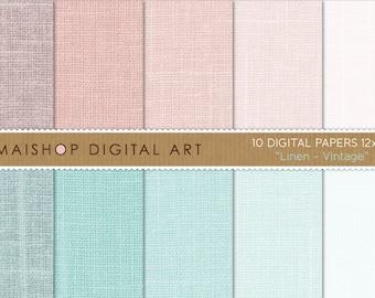 Digital Paper Linen 'Vintage' Soft Colors Paper Pack for Scrapbooking, Crafts, Backgrounds, Invites, Card Making, Gift Wrap...