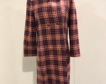 1960s checkered wool and satin coat