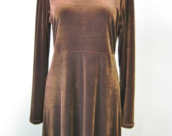Brown Velvet Maxi Dress / vtg 90s / Carmen Desiree CDC Long Sleeve Solid Brown Velvet Maxi
