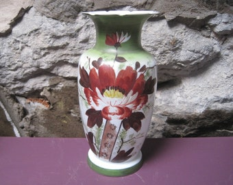Glass vase hand painted opaline glass