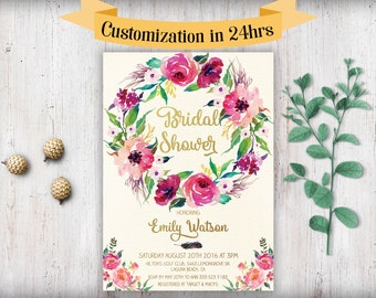 Bridal shower invitation printable boho bridal shower bridal shower invitation printable boho bridal shower invitation template download printable bridal shower invitation floral watercolor filmwisefo Choice Image