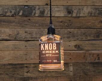 Knob Creek Rye Bottle Pendant Light - Upcycled Industrial Hanging Light - Handmade Bottle Light Fixture, Dorm Lighting, Apartment Light